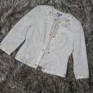 Ann Taylor Tan Sequin Linen Silk Open Front Jacket